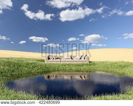Lake with an island green in the desert and sofas for relaxing, dream concept. 3D illustration, rendering.