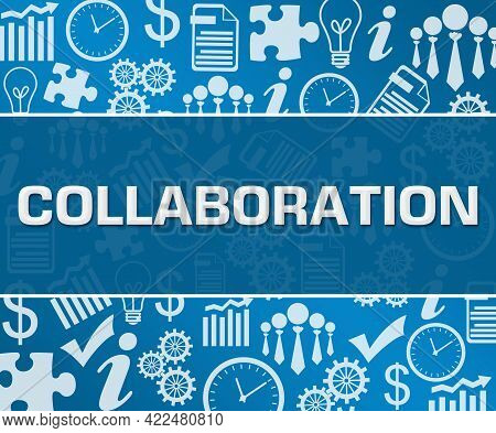 Collaboration Text Written Over Blue Background With Symbols.