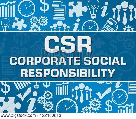 Csr - Corporate Social Responsibility Text Written Over Blue Background.