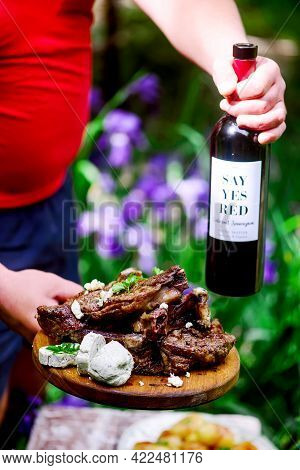 Steak With Blue Cheese Butter.outdoor Photo.style Rustic.selective Focus
