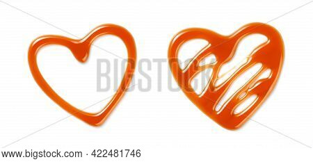 Sweet Caramel Sauce On White Background. Top View Of Caramel Hearts Isolated. Caramel Sauce For Pack