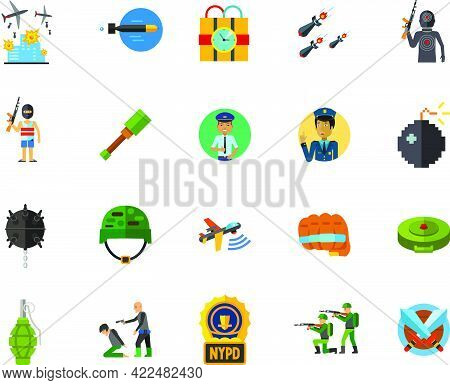 Terror And War Icon Set. Can Be Used For Topics Like Terrorism, Danger, Disaster, Rebel, Revolution