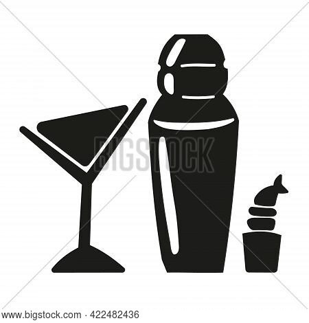 Martini Cocktail, Shaker And Shrimp Roll Icons Isolated On White Background. Vector Illustration In
