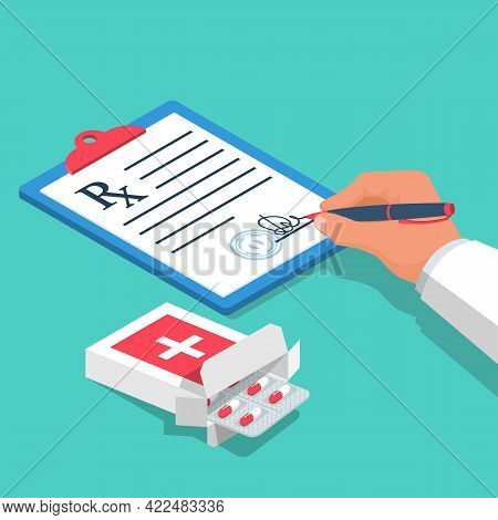 Blister Pills Issued By Prescription. Doctor Signs A Recipe. Clipboard With A Pen. Medical Rx Prescr