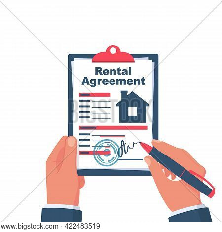 Rental Agreement Form Contract. Man Signs A Document. Rental And Selling Real Estate. Vector Illustr