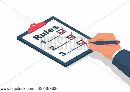 Rules Concept. Businessman Holding In Hand Clipboard With Regulations. Checklist With Requirements.