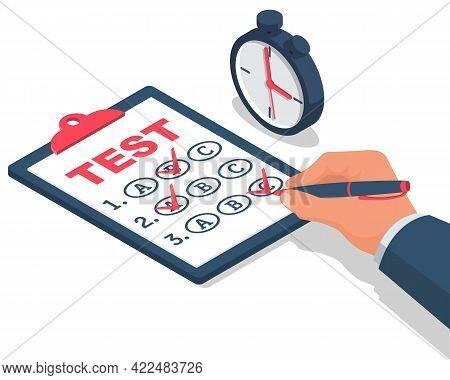 Businessman On Testing. Vector Illustration Isometric 3d Design. Filling, Writing Tests. Exam On Tim