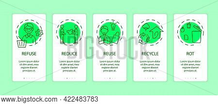 Zero Waste Grreen App Page Screen With Concepts. Refuse, Reduce, Reuse, Recycle, Rot Ideas. Save The