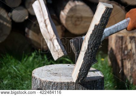 Photography On Theme Big Steel Axe With Wooden Handle, Metal Ax For Wood Chopping. Photo Old Ax Cons