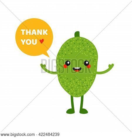 Cute Smiling Cartoon Style Green Jackfruit Character With Speech Bubble Saying Thank You, Showing Ap