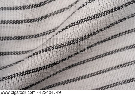 Kitchen Towel Or Napkin Crumpled Over The Table View From Above With Copy Space For Design, Wrinkled
