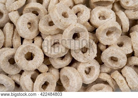 Healthy Cereal Rings On White Background Good Morning A Healthy, Healthy Breakfast Dry Muesli A Clos