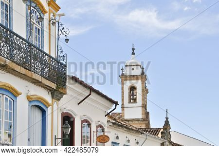 Sao Joao Del-rei, Minas Gerais, Brazil - May 25, 2019: Houses And Characteristic Architecture In The