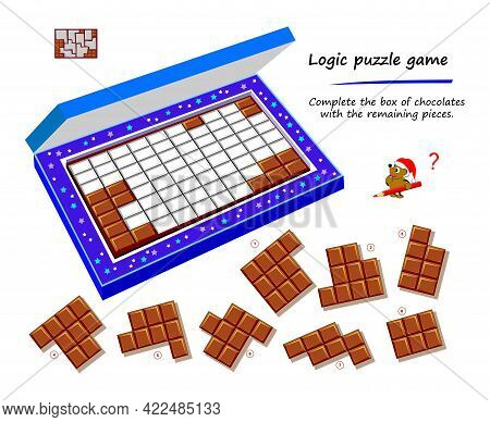 Logic Puzzle Game For Children And Adults. Complete The Box Of Chocolates With The Remaining Pieces.