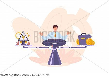 Calm Businessman Meditating On The Scales And Keep Harmony Choose Between Career And Relax, Business