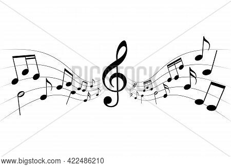 Musical Notes Graphic Background. Music Notes And Staff On White Background. Melody Symbol. Vector I
