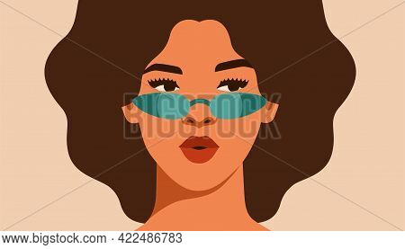 Black Girl Is Looking Away With Interest. Self-confident Young Woman In Sunglasses With Brown Skin A