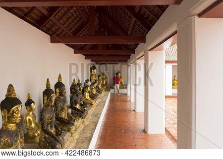 Golden Buddha At Wat Phra Borommathat Chaiya In Chaiya, Surat Thani, Thailand.