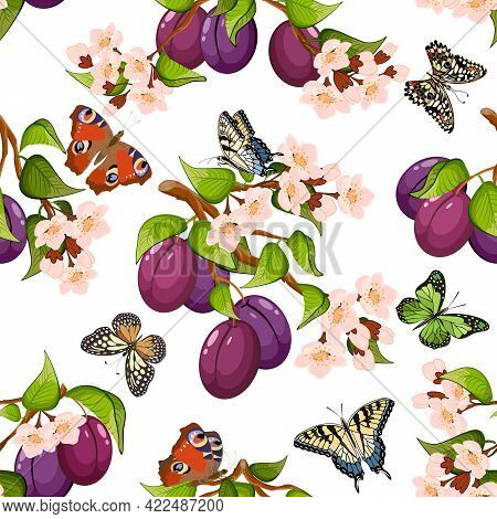 Vector Pattern Of Plums And Flowers.blooming Branches Of Plums And Butterflies On A White Background