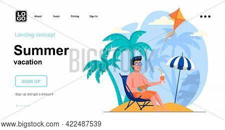 Summer Vacation Web Concept. Man Sunbathes In Lounger Under Umbrella, Resting At Seaside Resort. Tem