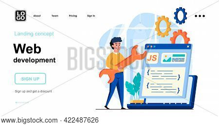 Web Development Concept. Developer Creates Layout Of Webpage, Coding Code, Settings And Optimizes. T