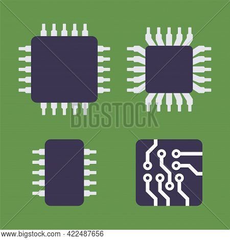 Micro Chip Processor Icons Set. Cpu Electronic Component. Vector