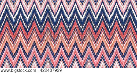 Interlaced Zigzags. Bohemian, Fashionable Seamless Ornament In Ethnic Style. In Modern Trendy Shades