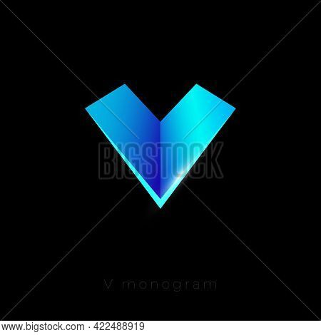 V Letter. V Monogram Like Paper Airplane. Origami Icon. Emblem Can Use For Business, Application Ico