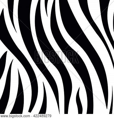 Vector Illustration Of Black And White Stripes Forming Seamless Pattern Of Zebra Hide