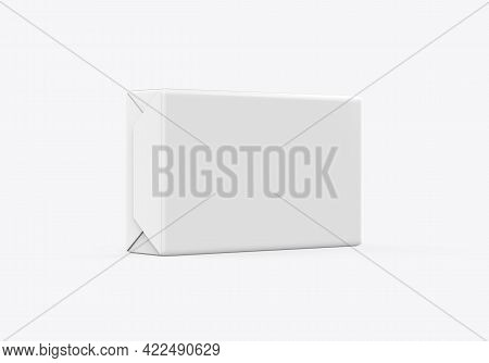Soap And Butter Block Wrap Box Mockup On Isolated White Background, Packaging Product Package For De