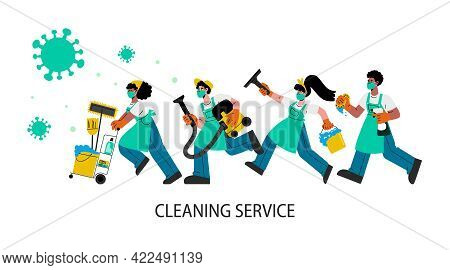 Janitors Team In Rubber Gloves Run To Clean And Disinfects Homes And Offices.vector Flat Illustratio