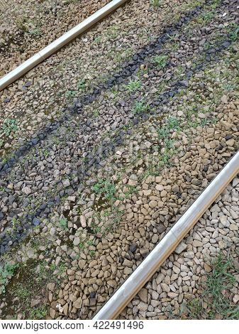 The Rails Go Into The Distance. Crushed Stone, Grass Between The Rails. Top View