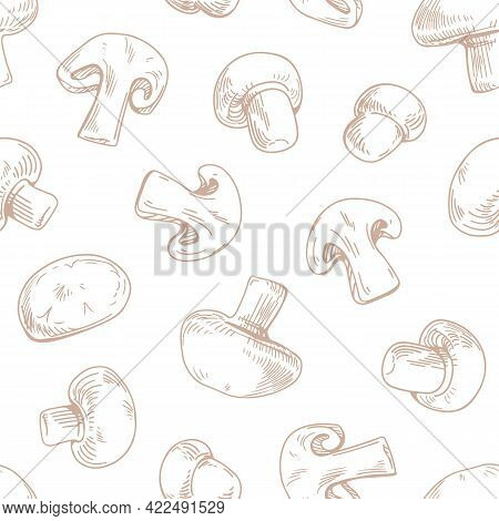 Seamless Pattern With Outlined Champignon Slices And Whole Mushrooms On White Background. Endless Re