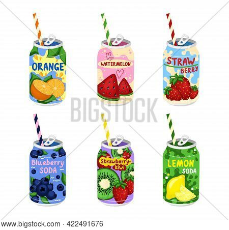 Tasty Sodas. Hand Drawn Vector Set Of Soft Drinks In Aluminum Cans. Kawaii Japanese Style.
