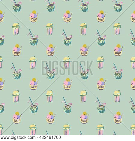 Vector Summer Doodle Seamless Pattern. Retro Vintage Trendy Colors. Hand Drawn Beach Objects. Digita