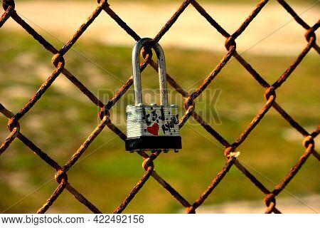 Love Lock At Bridge Walkway Symbol Of Eternal Love.