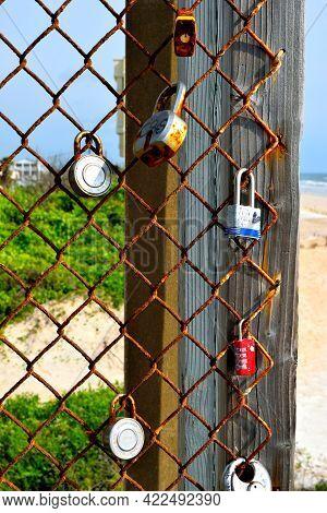 Love Locks On Bridge Walkway Symbol Of Eternal Love.