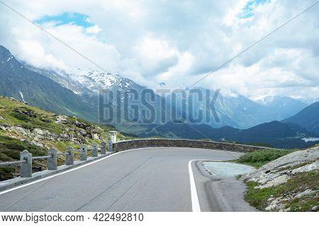Pass Street Down From San Bernardino Pass, Switzerland, With View Into Mesocco