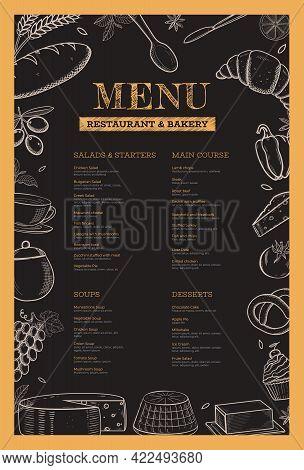 Restaurant And Bakery Menu Template. Hand Drawn Vector Food Illustration On Chalkboard Black Backgro