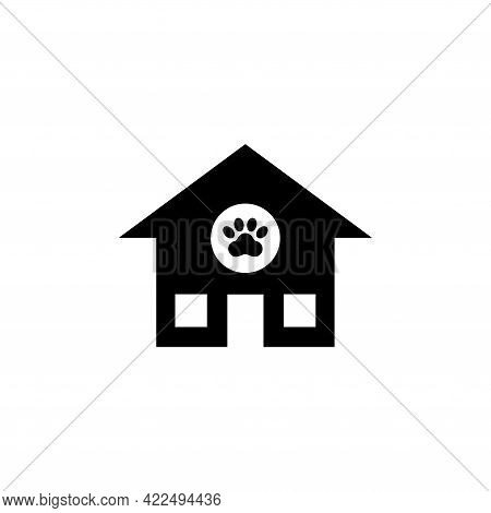 Animal House, Shelter Canine. Flat Vector Icon Illustration. Simple Black Symbol On White Background