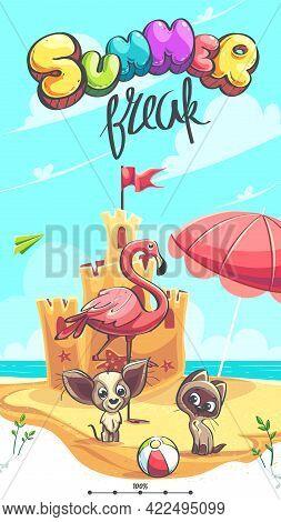 Summer Break - Vector Illustration. Flamingo, Puppy, Kitten On The Seashore In Front Of The Sand Cas