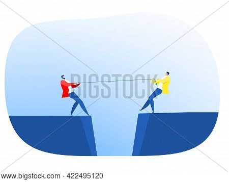 Two Businessman In Suit Pull The Rope At Edge Of Cliff, Symbol Of Rivalry, Competition, Conflict Tug