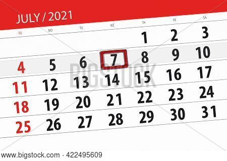 Calendar Planner For The Month July 2021, Deadline Day, 7, Wednesday