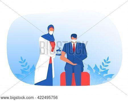 Muslim Nurse Injecting Vaccine Injection, Vaccine Against Coronavirus Male Patients Vector Flat Illu