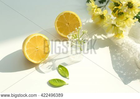 Fresh Lemon With Half Isolated On White Background.