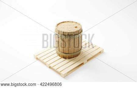 3d Rendering Of A Vintage Wooden Wine And Beer Barrel Standing On A Pallet.