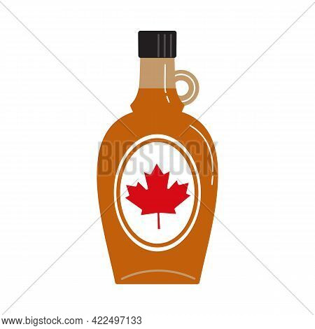Canadian Maple Syrup Glass Bottle Flat Color Vector Icon. Sweet Natural Topping Cartoon Design Eleme