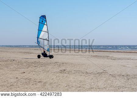 Ringby, Denmark - 30 May, 2021: Blokart Wind Buggy Enjoying A Windy Day On The Wadden Sea Island Bea