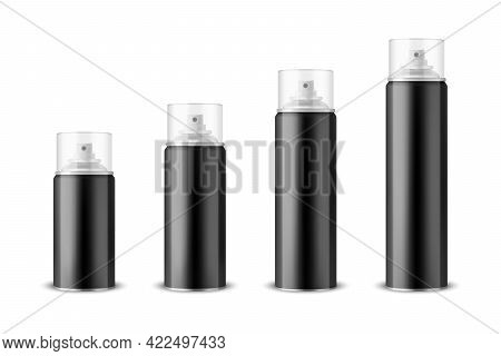 Vector 3d Realistic Black Aluminum Blank Spray Can, Bottle, Transparent Lid Set Isolated. Small, Med