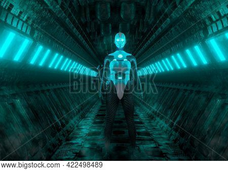 Advanced Female Robot In Spaceship Runner In Science Fiction Scene Of Games And Movies. 3d Rendering